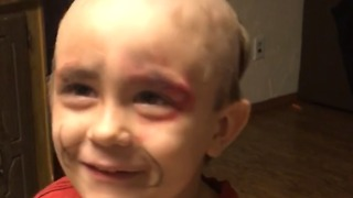 A Little Boy Shaves Off His Head And Wears His Mom's Makeup - Video