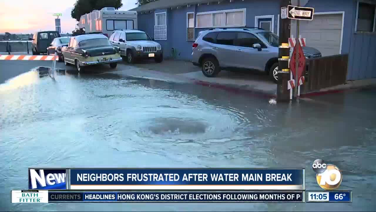 Neighbors frustrated after Mission Beach water main break