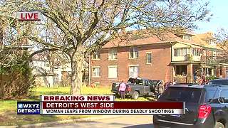 Woman leaps from window during Detroit shooting that left 2 dead