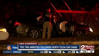 Two people arrested after overnight chase in North Tulsa - Video