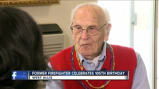 Retired West Allis firefighter celebrates 104th birthday - Video