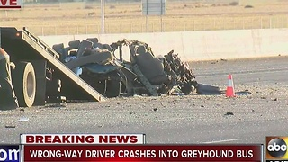 Reported wrong-way driver crashes head-on into Greyhound bus in Goodyear on I-10 - Video