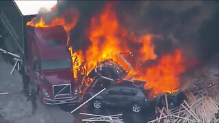 Raw: Aerial images of fiery crash scene on I-70