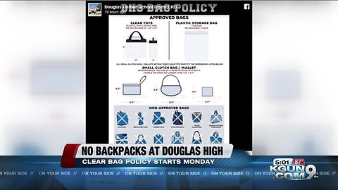 Douglas Unified School District carries out clear bag policy for safety of students