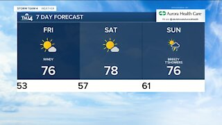 Friday highs in the upper 70s, wind gusts to 25 mph