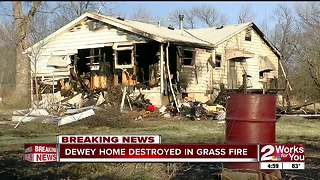 Dewey home destroyed in grass fire - Video