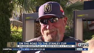 Fans gather at Mandalay Bay beach to watch the Golden Knights in playoff game 4