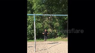 YouTuber dad shows off amazing swing trick in front of daughter