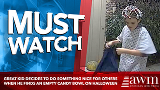 Great Kid Decides To Do Something Nice For Others When He Finds An Empty Candy Bowl On Halloween - Video