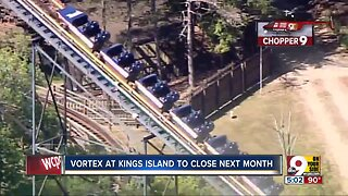 Vortex roller coaster closing at Kings Island