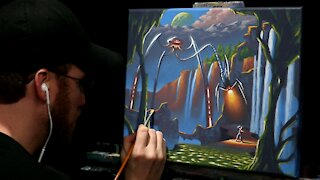 Acrylic Fantasy Painting of Alien Tripod - Time-lapse - Artist Timothy Stanford
