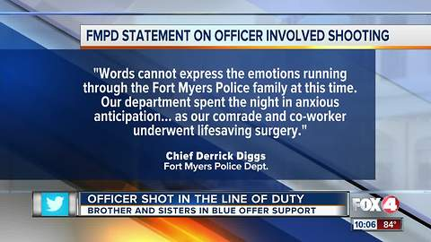 Law enforcement agencies send well wishes to a Fort Myers Police Officer who was shot