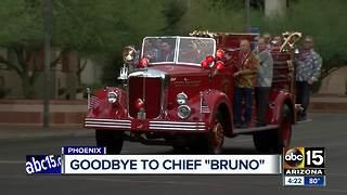 A procession for former Phoenix Fire Chief Bruno held in downtown - Video