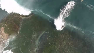 Drone Captures Playful Dolphins and Bodyboarders Riding Waves - Video