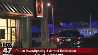 Police investigate three armed robberies - Video