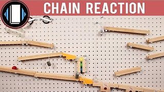 Red Balls Follow Chain Reaction Through Wooden Maze - Video