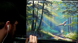 Acrylic Landscape Painting of a Forest Path with Heron - Time Lapse - Artist Timothy Stanford