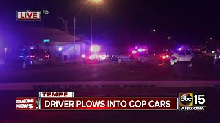 Man drives stolen car into unmarked Tempe police cruisers