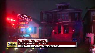 6 people hospitalized after fire in southwest Detroit