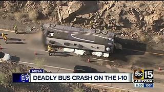 Tour bus crashes, driver of bus killed - Video