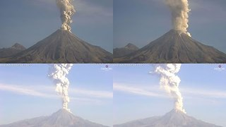 Mexico's Colima Volcano Erupts Twice in a Day - Video