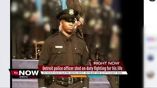 Detroit police officer shot on duty fighting for his life - Video