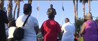 Protesters gather at Martin Luther King Jr. statue