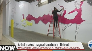 Artist creating giant mural in Detroit - Video