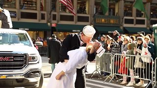 Famous V-J Day Times Square kiss re-enacted during annual NYC Veterans Day parade