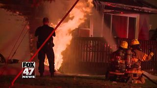Gas fire destroys home in DeWitt Township - Video