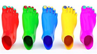 Learn Colors With Foot Painting Glitter for Kids