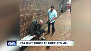 NFTA officer buys boots for homeless man - Video
