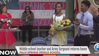 Middle school teacher and Army Sergeant returns home - Video