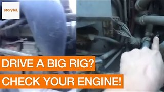Man Loses His Temper During Review of Big Rig Engine - Video