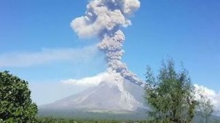 Sky Fills With Smoke as Mayon Volcano Emits Ash Column - Video