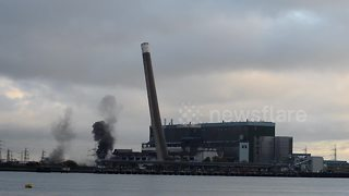 Tilbury Power Station chimney demolition - Video