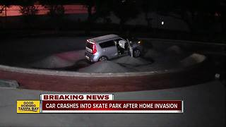 Home invaders arrested after crashing stolen car into skate park bowl, Tampa police say - Video