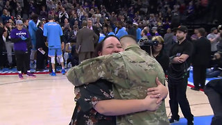 Soldier Surprises Mom with Reunion During Sacramento Kings Game