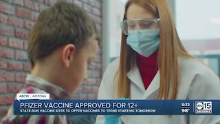 Pfizer vaccine approved for kids 12+