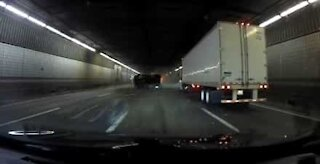 Truck crashes in U.S. tunnel