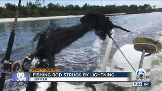 Lightning strikes boat off Jupiter, blows apart fishing rod - Video