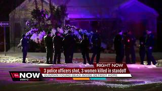 3 Detroit police officers shot, 3 women killed after barricaded gunman situation - Video