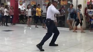 Mall Cop Entertains Shoppers With His Dance Moves - Video