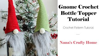 Gnome Crochet Bottle Topper Tutorial