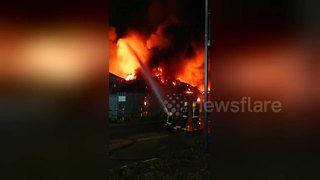 Massive blaze breaks out at coffee factory in Kent