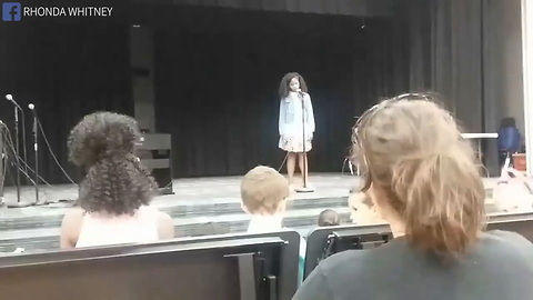 Terrified Girl Chokes Up Mid Song At Talent Show, Crowd In Tears When Mom's Voice Sounds From Back