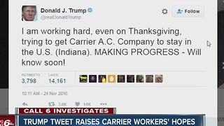 Trump Tweet raises Carrier workers' hopes - Video