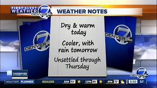 70s in Denver today, but cooler with a chance of showers starting tomorrow - Video