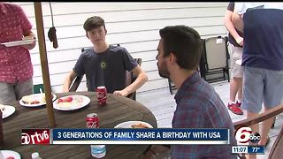 Family celebrates three generations of birthdays on Fourth of July - Video