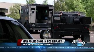 Man found with self-inflicted gunshot wound in PCC library - Video